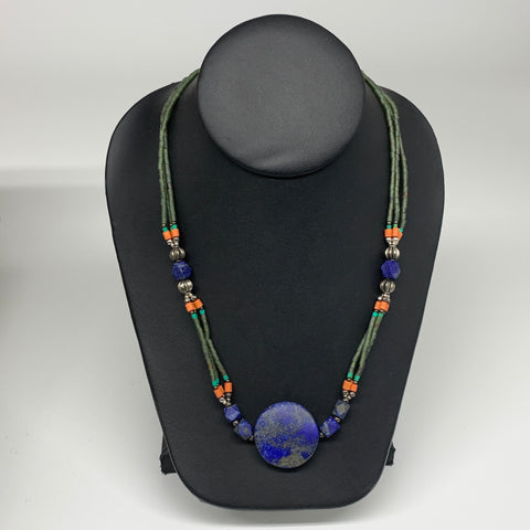 "38.2g, 1mm-29mm, 24"" Lapis Lazuli Green Serpentine Beaded Necklace, P265"