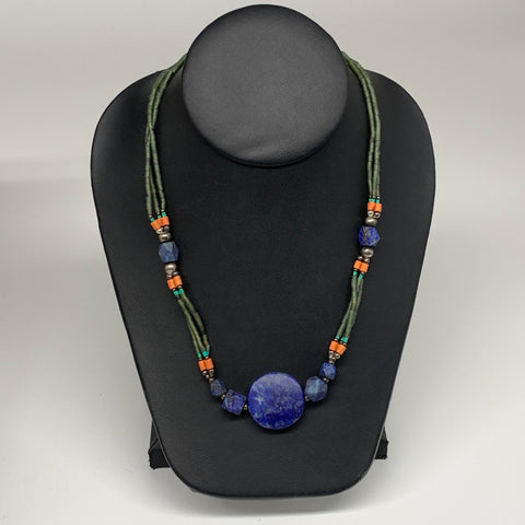 "33.6g, 1mm-26mm, 24"" Lapis Lazuli Green Serpentine Beaded Necklace, P266"