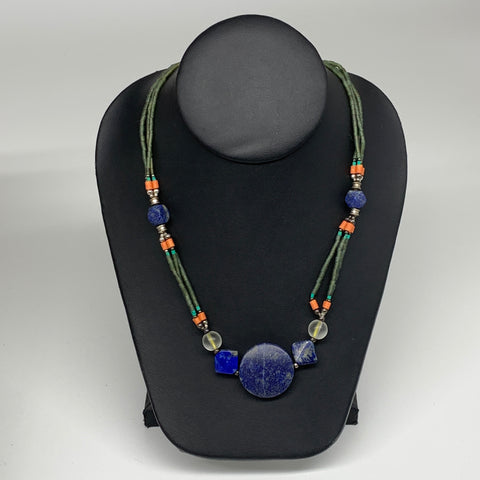"38g, 1mm-28mm, 24"" Lapis Lazuli Green Serpentine Beaded Necklace, P267"