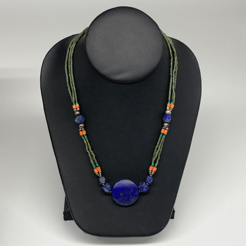 "33.3g, 1mm-26mm, 24"" Lapis Lazuli Green Serpentine Beaded Necklace, P268"