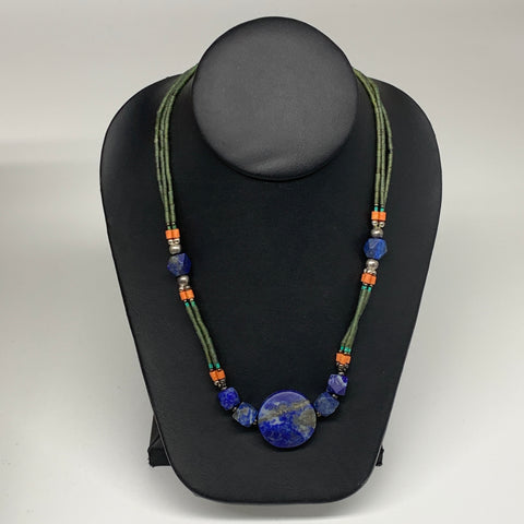 "39.4g, 1mm-27mm, 24"" Lapis Lazuli Green Serpentine Beaded Necklace, P269"