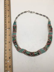 Vintage EthnicTribal Green Turquoise & Red Coral Inlay Boho Statement Necklace,E - watangem.com