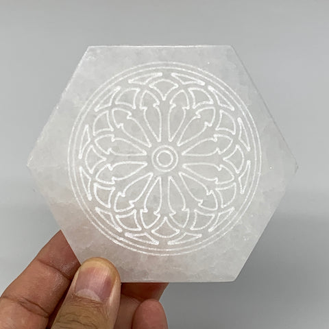 "1pcs, 3.3"" -3.5"" Selenite Crystals Carved Hexagon Shape gypsum @Morocco"