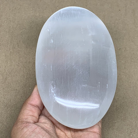 "698g, 6""x3.5""x1.5"", White Selenite Palmstone Crystal Pillow Reiki Morocco, B12900"