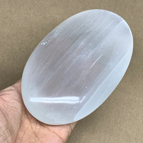 "768g, 6""x3.6""x1.7"", White Selenite Palmstone Crystal Pillow Reiki Morocco, B12902"