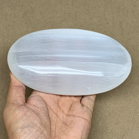 "648g, 6""x3.4""x1.5"", White Selenite Palmstone Crystal Pillow Reiki Morocco, B12901"