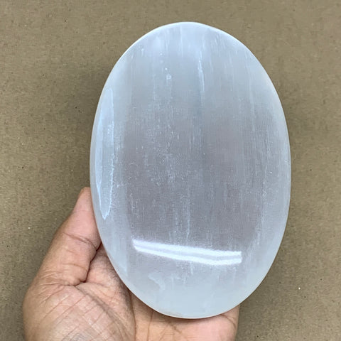 "758g, 6""x3.7""x1.5"", White Selenite Palmstone Crystal Pillow Reiki Morocco, B12925"