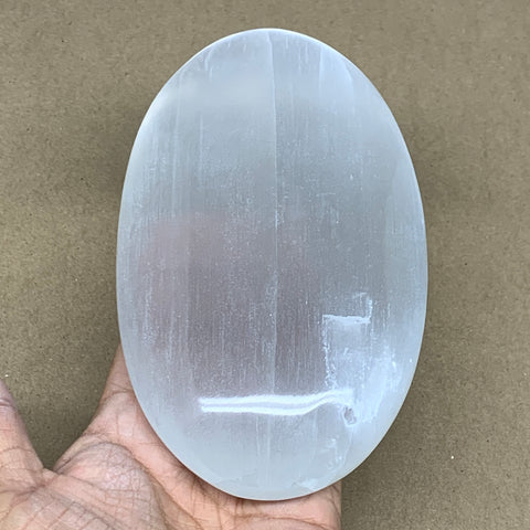 "653g, 6""x3.6""x1.5"", White Selenite Palmstone Crystal Pillow Reiki Morocco, B12903"