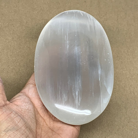 "573g, 6""x3.6""x1.2"", White Selenite Palmstone Crystal Pillow Reiki Morocco, B12904"