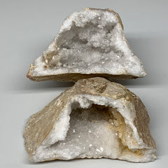 "2.18Lbs,6.25""x4.8""x2.7"", 1 Pair, Natural Quartz Geodes Sculpture @Morocco,B10508"
