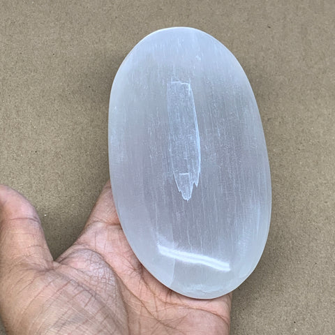 "493g, 5.8""x3""x1.3"", White Selenite Palmstone Crystal Pillow Reiki Morocco, B12905"
