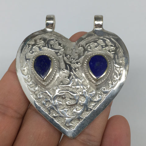 "1pc,2.4""x2.1""x0.4"",Turkmen Pendant Lapis Lazuli Heart Shape Statement,TN667"