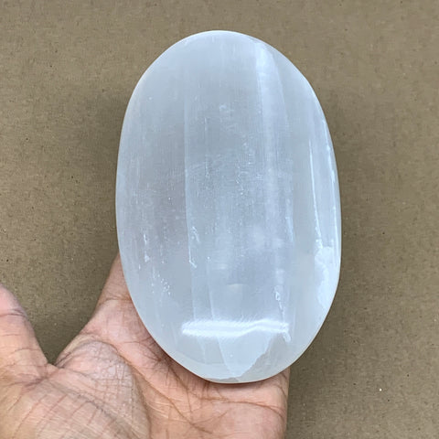 "553g, 6""x3.2""x1.4"", White Selenite Palmstone Crystal Pillow Reiki Morocco, B12906"
