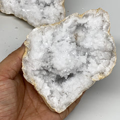 "2.65Lbs,5.3""x4.7""x3.6"", 1 Pair, Natural Quartz Geodes Sculpture @Morocco,B10510"