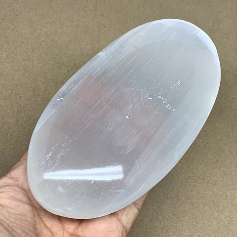 "468g, 5.8""x3""x1.3"", White Selenite Palmstone Crystal Pillow Reiki Morocco, B12907"