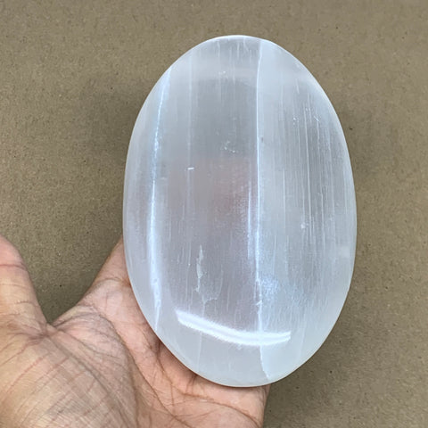 "548g, 5.8""x3.4""x1.3"", White Selenite Palmstone Crystal Pillow Reiki Morocco, B12909"