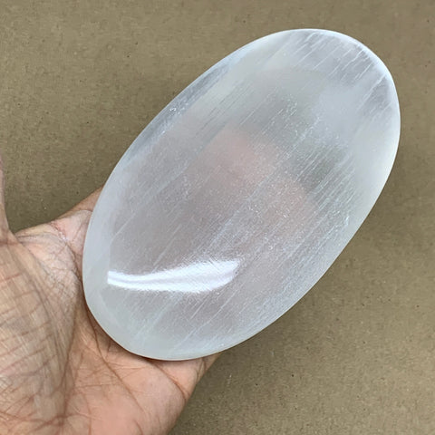 "578g, 6""x3.2""x1.5"", White Selenite Palmstone Crystal Pillow Reiki Morocco, B12912"
