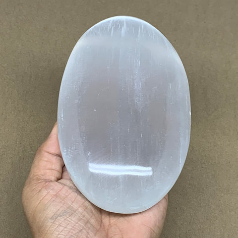 "788g, 6""x3.7""x1.7"", White Selenite Palmstone Crystal Pillow Reiki Morocco, B12913"