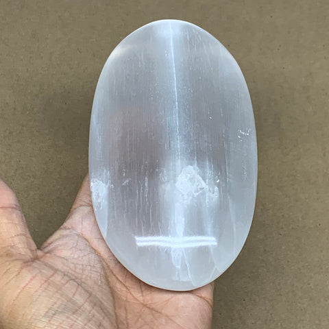 "528g, 5.9""x3.1""x1.5"", White Selenite Palmstone Crystal Pillow Reiki Morocco, B12914"