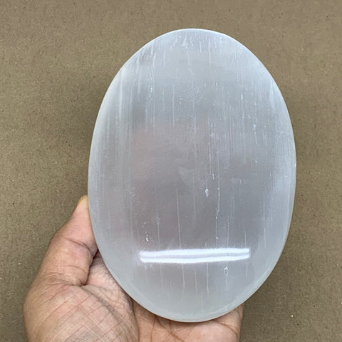 "738g, 6""x3.8""x1.5"", White Selenite Palmstone Crystal Pillow Reiki Morocco, B12915"