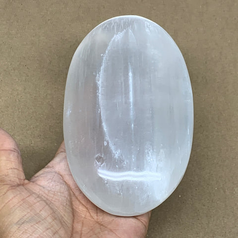 "658g, 6""x3.4""x1.6"", White Selenite Palmstone Crystal Pillow Reiki Morocco, B12916"