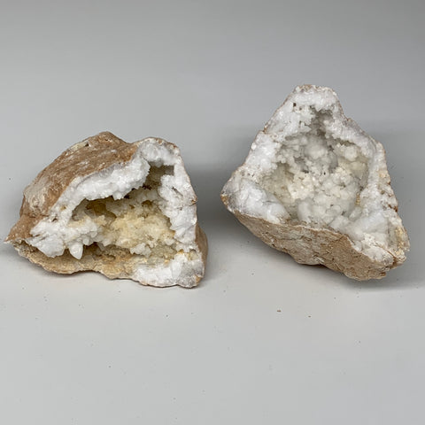"2.68Lbs,5.9""x4.7""x3.4"", 1 Pair, Natural Quartz Geodes Sculpture @Morocco,B10519"