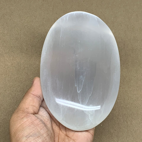 "698g, 6""x3.6""x1.5"", White Selenite Palmstone Crystal Pillow Reiki Morocco, B12917"