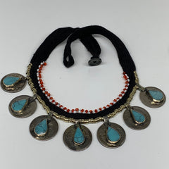 Coin Choker Necklace Afghan Turkmen Tribal Teardrop Blue Turquoise Inlay Handmad