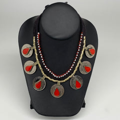 Coin Choker Necklace Afghan Turkmen Tribal Teardrop Red Coral Inlay Handmade CK0