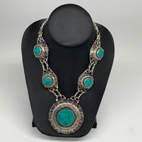 Turkmen Necklace Afghan Ethnic Tribal Necklace 5 Stone Turquoise Inlay Necklace