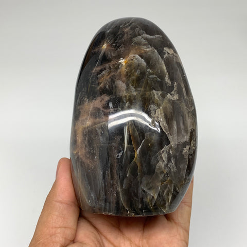 "708g, 4.4""x 2.9""x2.4"" Natural Black Moonstone Freeform Crystal @Madagascar,B3248"