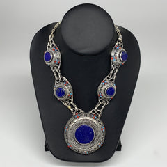 Turkmen Necklace Afghan Ethnic Tribal Necklace 5 Stone Lapis Lazuli Inlay Neckla