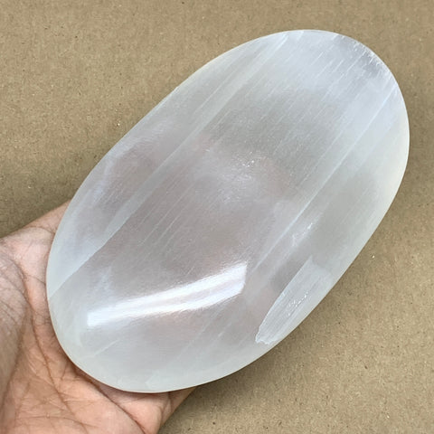 "548g, 5.9""x3.3""x1.3"", White Selenite Palmstone Crystal Pillow Reiki Morocco, B12919"