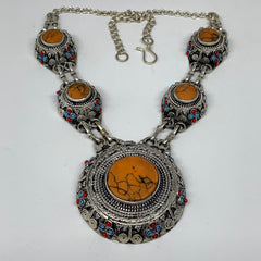 Turkmen Necklace Afghan Ethnic Tribal 5 Stone Orange Coral Inlay ATS Necklace T0