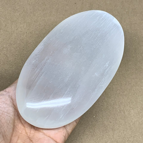 "532g, 5.9""x3.1""x1.5"", White Selenite Palmstone Crystal Pillow Reiki Morocco, B12920"