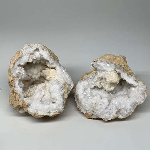 "6Lbs,6.5""x6""x5.6"", 1 Pair, Natural Quartz Geodes Sculpture @Morocco,B10523"