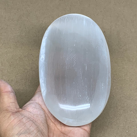 "668g, 6""x3.3""x1.6"", White Selenite Palmstone Crystal Pillow Reiki Morocco, B12921"