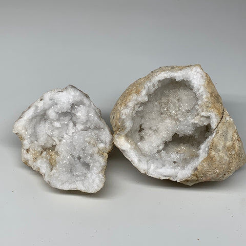 "3.67Lbs,5.7""x5.3""x4.3"", 1 Pair, Natural Quartz Geodes Sculpture @Morocco,B10524"