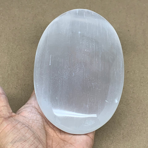 "648g, 6""x3.8""x1.3"", White Selenite Palmstone Crystal Pillow Reiki Morocco, B12922"