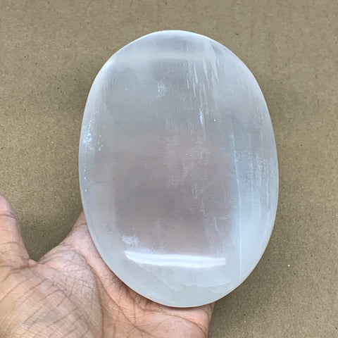 "653g, 6""x3.7""x1.3"", White Selenite Palmstone Crystal Pillow Reiki Morocco, B12923"