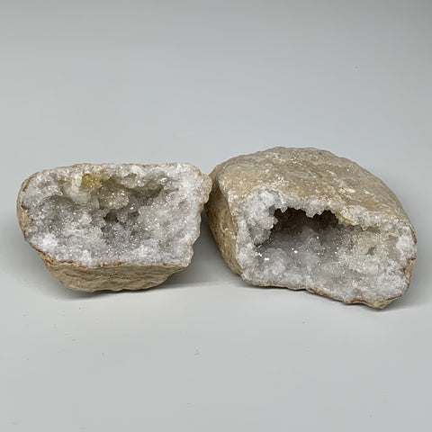 "1.49Lbs,5.5""x3.7""x2.5"", 1 Pair, Natural Quartz Geodes Sculpture @Morocco,B10526"