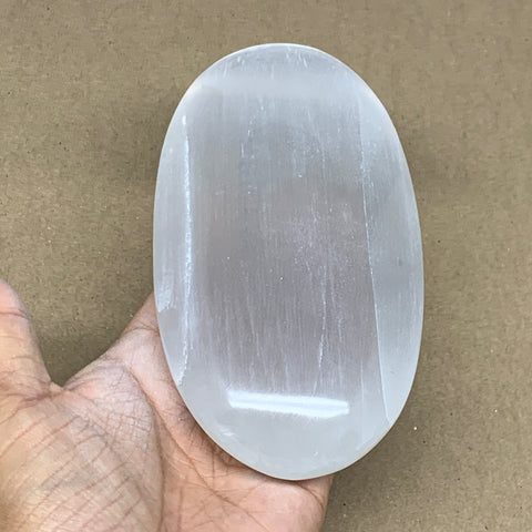 "588g, 6""x3.2""x1.5"", White Selenite Palmstone Crystal Pillow Reiki Morocco, B12924"