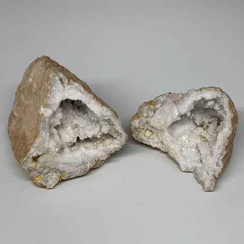 "1.92Lbs,5.3""x3.7""x3.2"", 1 Pair, Natural Quartz Geodes Sculpture @Morocco,B10527"