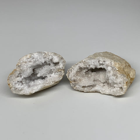 "1.78Lbs,5.4""x4""x2.3"", 1 Pair, Natural Quartz Geodes Sculpture @Morocco,B10529"