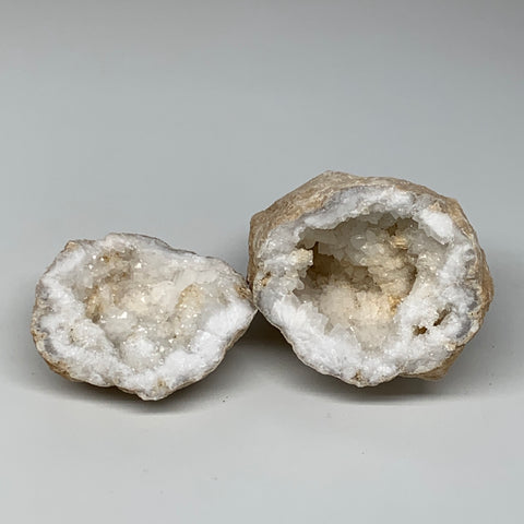 "2.47Lbs,5.2""x4.2""x3.7"", 1 Pair, Natural Quartz Geodes Sculpture @Morocco,B10530"