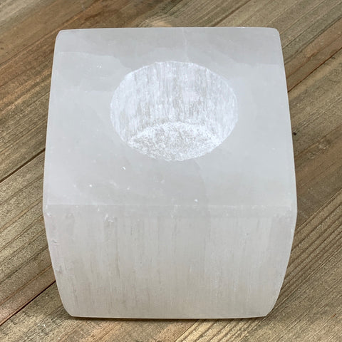 "1pc,1000-1100g, 3.1""x3.2"" White Selenite Candle Holder Square Shape from Morocco"