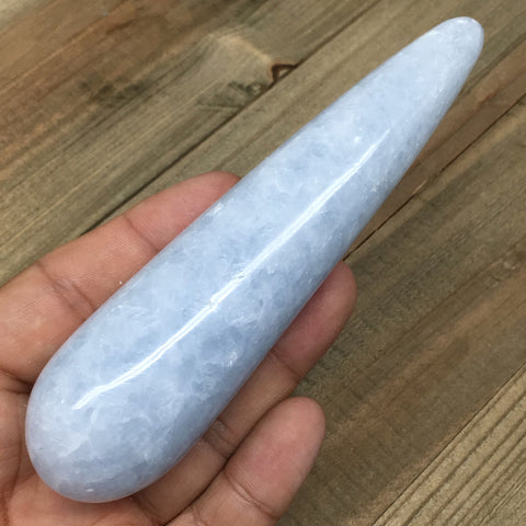 "150.8g, 4.8""x1.3"" Natural Blue Calcite Wand Stick Massage Stone Crystal, B1213"
