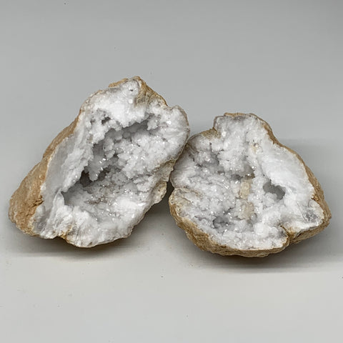 "2.57Lbs,5.2""x4.5""x3.5"", 1 Pair, Natural Quartz Geodes Sculpture @Morocco,B10533"
