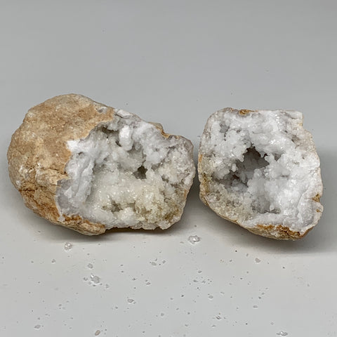 "1.93Lbs,5.5""x3.8""x2.7"", 1 Pair, Natural Quartz Geodes Sculpture @Morocco,B10534"