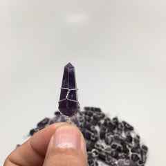 "1pc Purple AMETHYST POINT PENDANT Wire Wrapped from Brazil 1.25"" - 1.5"" - watangem.com"